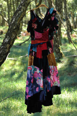 Patchwork dresss upcycled from velvet fabric scraps