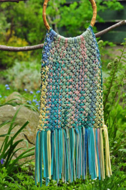 A macrame bag with yarn upcycled from T-shirts